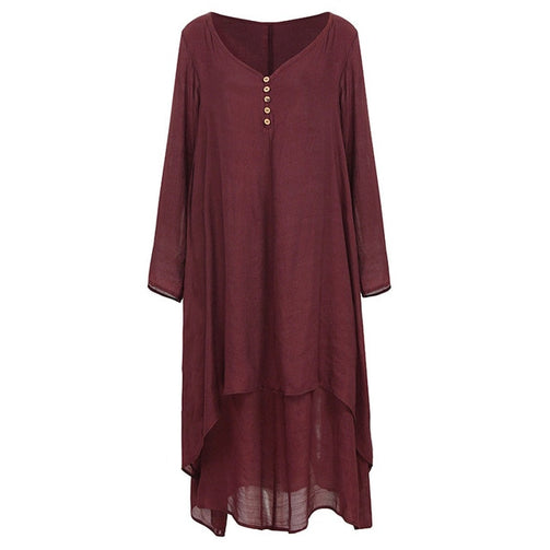 Women Vintage Casual Solid Loose Dress - shopaholics