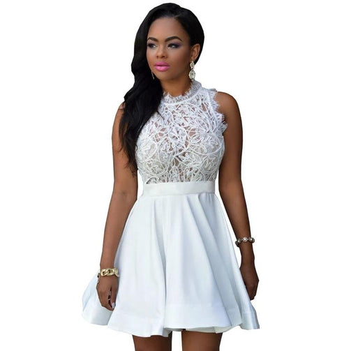 Elegant Black White Lace Spring Summer Dress - shopaholics