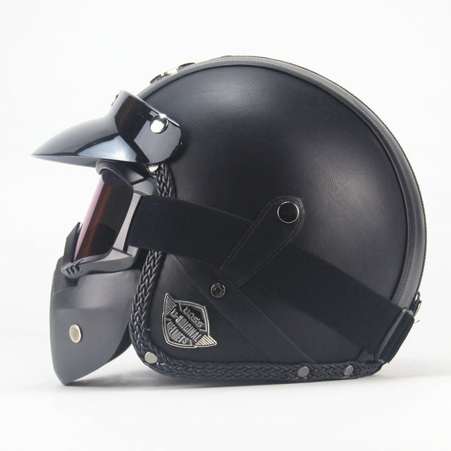 Pu Leather Open Face Motorcycle Helmet - Shopaholics