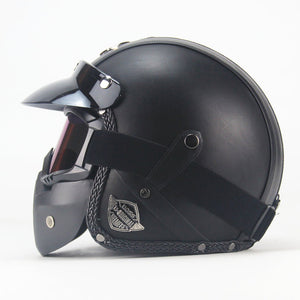 PU Leather Helmets | Open Face with Goggle Mask - shopaholics