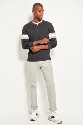 Men's Gray Chino Pants Straight Fit - shopaholics