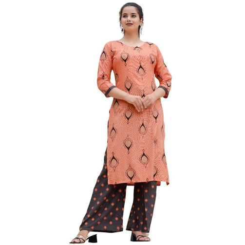 Handwork Rayon Kurti With Printed Palazzo For Women - Shopaholics