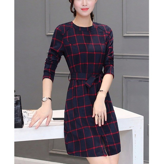 High Quality Plaid Midi Dress - shopaholics