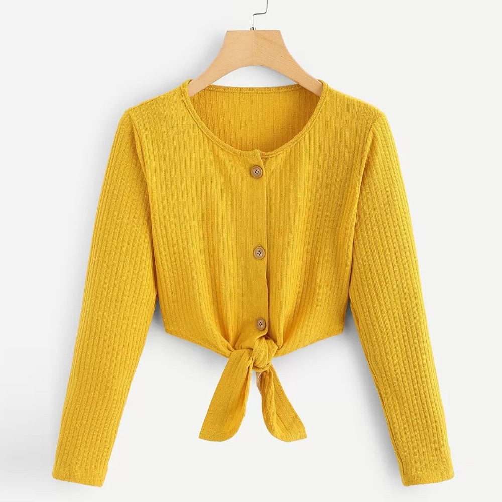 Women Long Sleeve Casual Crop Top Blouse Shirt - shopaholics