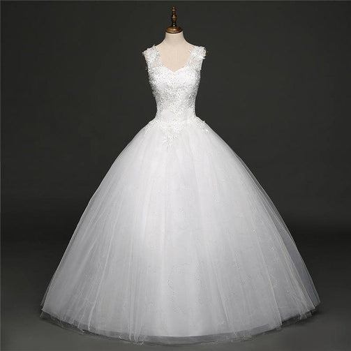Off White Sleeveless Wedding Gown for Women - Shopaholics