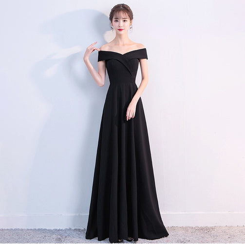 Simple Boat Neck Sleeveless Formal Gown for Women - Shopaholics