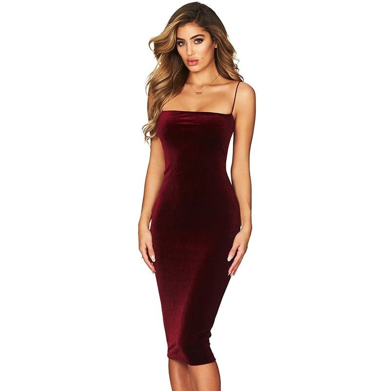 Velvet Party Midi Dress for Women - shopaholics