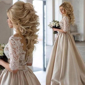 Elegant Illusion Back Wedding Gown - shopaholics
