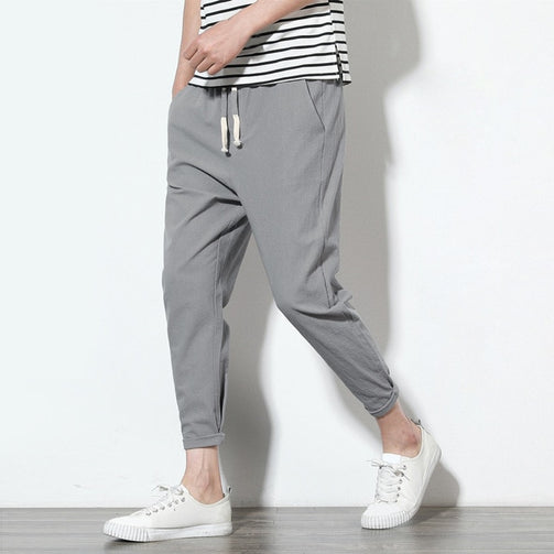 Casual Cotton Linen Harem Pants for Men - Shopaholics