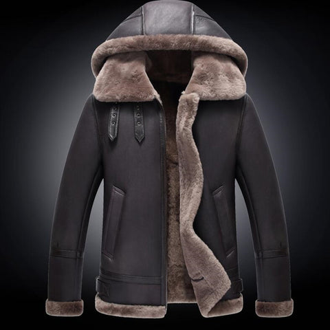Men's Fur Coat Men Genuine Leather Jacket Winter Coldproof Sheepskin Jackets With Detachable Hood Shearling Leather Coats 710