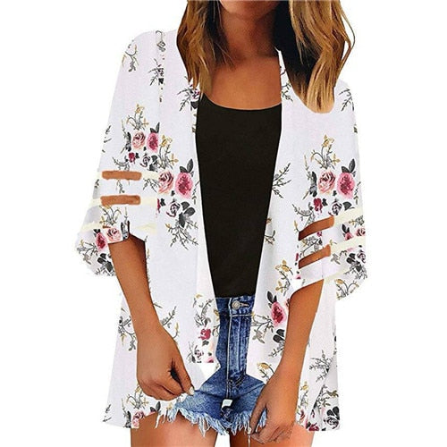 Floral Print Chiffon Tops for Women - shopaholics