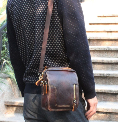 Vintage Genuine Leather Messenger Bag for Men - Shopaholics
