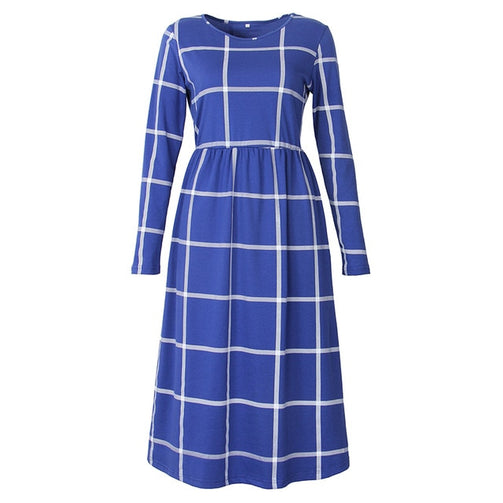 Women A-line Long Sleeve Tunic Plaid Dress - Shopaholics