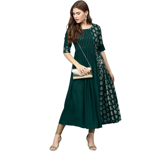 Premium Rayon Gold Foil Print Kurti For Women - Shopaholics