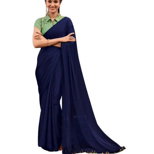 Premium Satin Fabric Saree With Embroidered Blouse For Women - Shopaholics