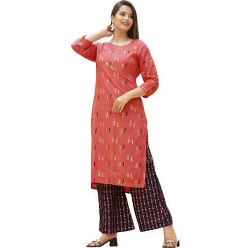Printed Rayon Kurti With Palazzo For Women - Shopaholics