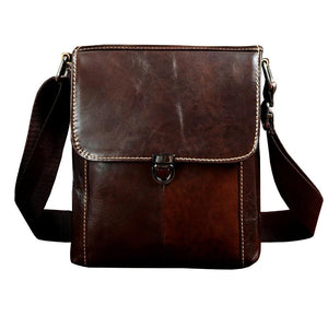 Real Leather Casual Small Messenger Bag - shopaholics
