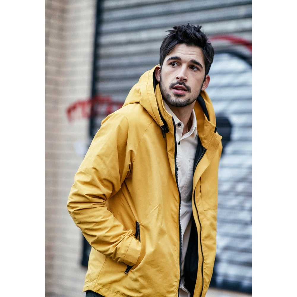 Yellow Colour Hooded Casual Jacket for Men
