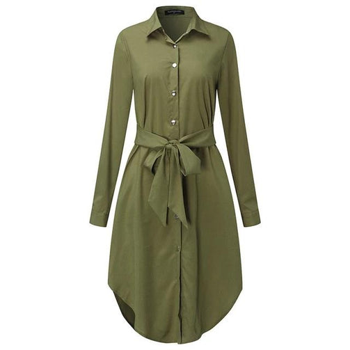 Long Sleeve Shirt Dress for Women - Shopaholics