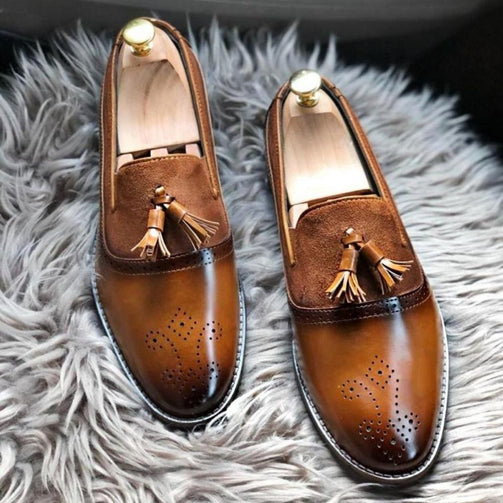 Suede Leather Tassel Loafers Shoes For Men - Shopaholics