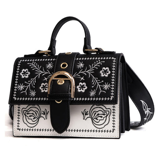 Women Embroidery PU Leather Handbag - Shopaholics