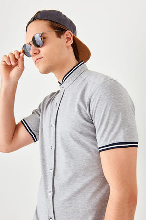 Gray Crew Neck Short Sleeve Shirt for Men - shopaholics