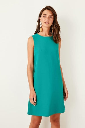 Green Sleeveless Spandex Dress for Women - shopaholics