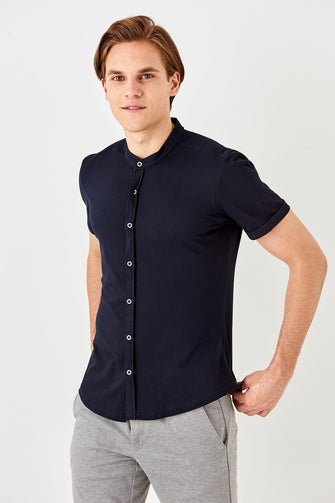 Navy Blue Crew Neck Shirt for Men - Shopaholics