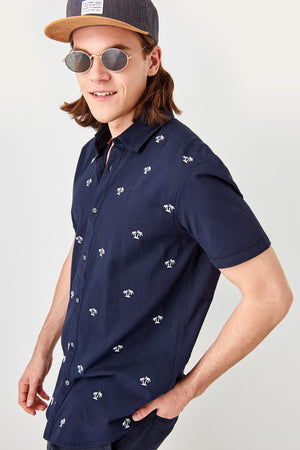 Navy Blue Slim Fit Shirt for Men - shopaholics
