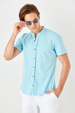 Crew Neck Short Sleeve Knitted Shirt for Men - shopaholics