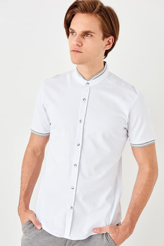 White Crew Neck Knitted Shirt for Men - Shopaholics