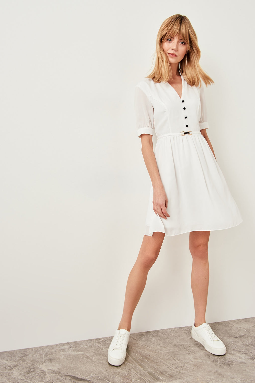 White Red Button Detail Dress for Women - shopaholics