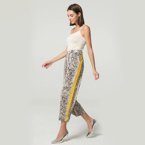 Women side striped snake skin pattern pant - shopaholics