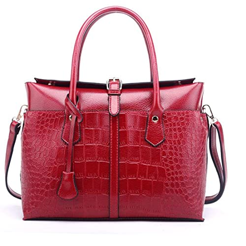 Red Elegant Design Leather Handbag For Women - Shopaholics