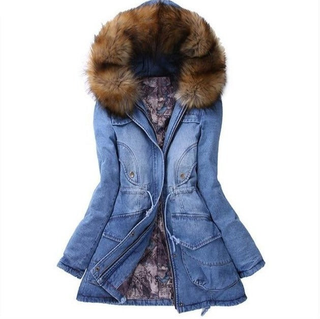 Women Thickening Basic Jeans Coat - shopaholics
