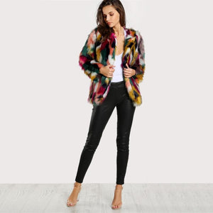 Winter Colourful Faux Fur Jacket For Women
