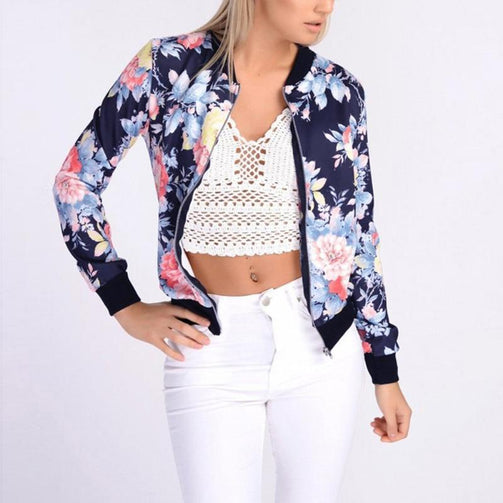 Women Floral Print Jacket With Long Sleeve - Shopaholics