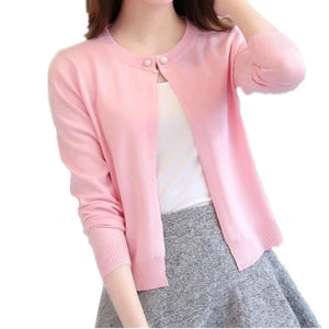 Women Slim O-Neck Knitted Cardigan - shopaholics