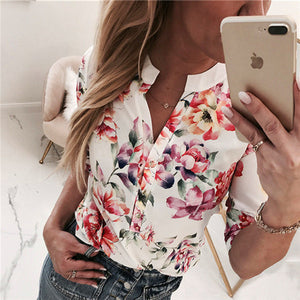 Women Summer V Neck Casual Tops - shopaholics