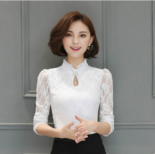 Chiffon Lace Long Sleeve Tops for Women - Shopaholics
