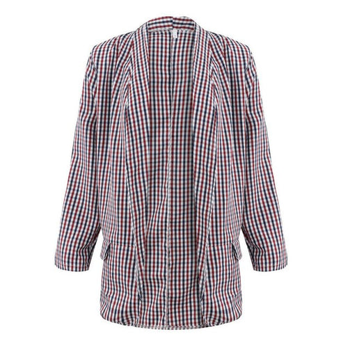 Women Coloured Grid Turn-Down Collar Jacket - Shopaholics