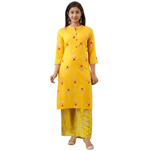 Yellow Embroidered Flower Printed Kurti With Plazzo For Women - Shopaholics