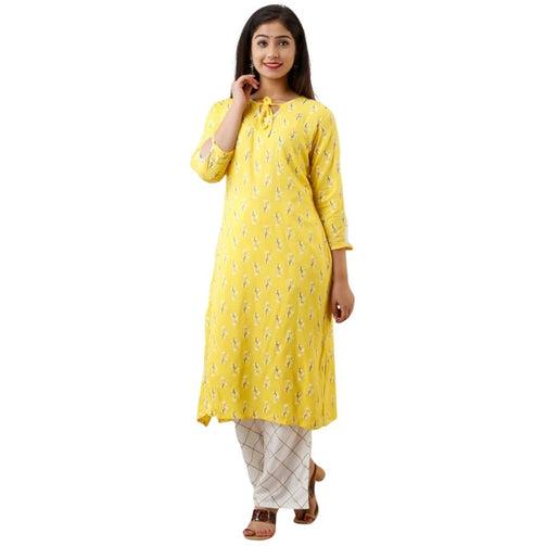 Yellow Printed Kurti And Plazzo For Women - Shopaholics