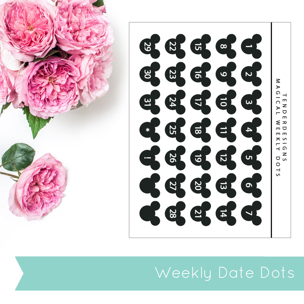 Magical Planner WEEKLY INSERT DATE DOTS