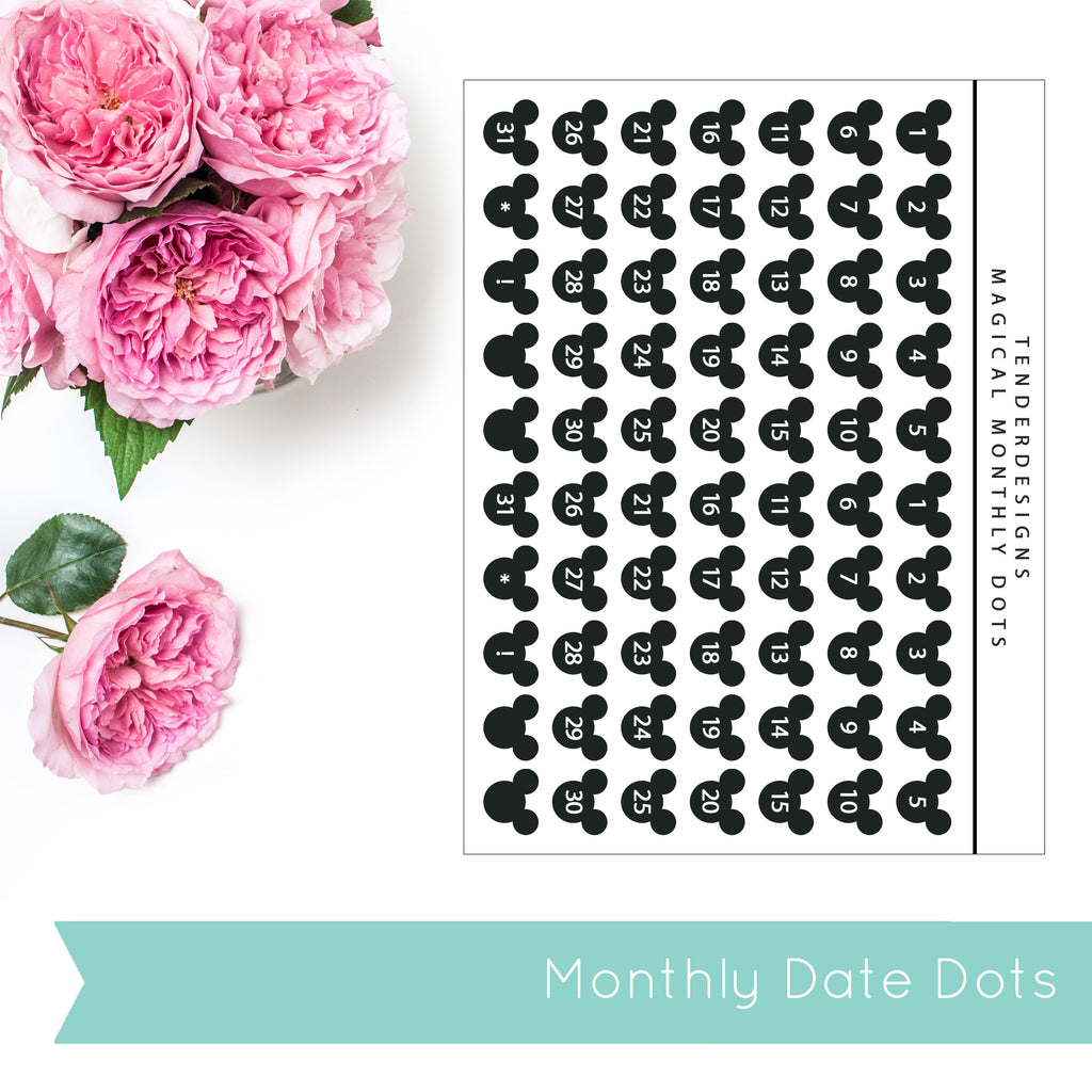 Build Your Planner MONTHLY INSERT DATE DOTS