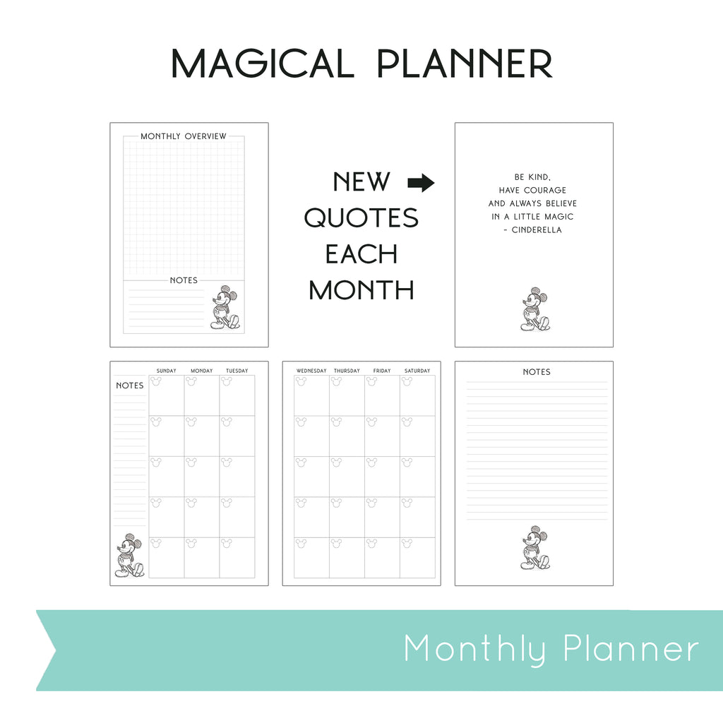Magical Planner MONTHLY PRINTABLE INSERTS