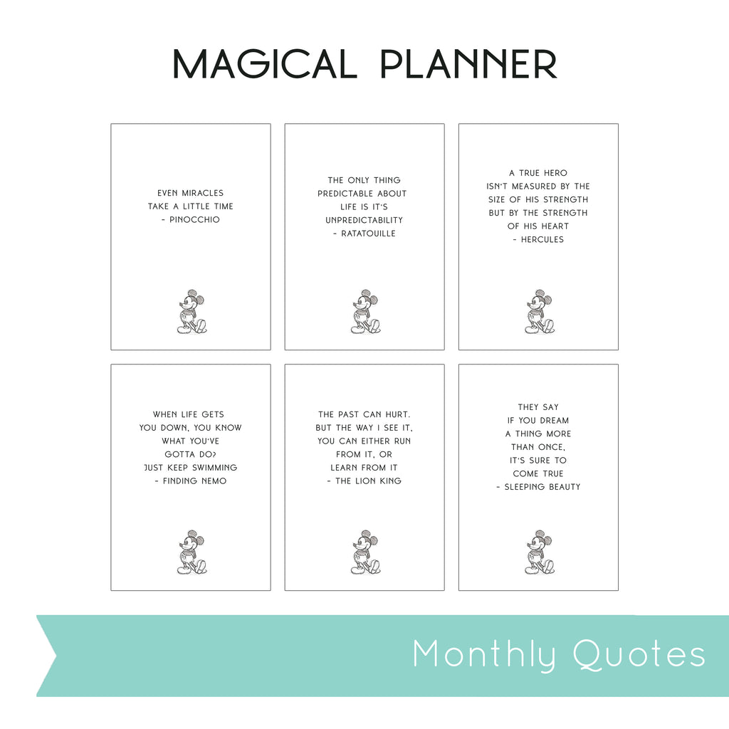 Magical Planner 12 MONTHLY QUOTES PRINTABLE INSERT