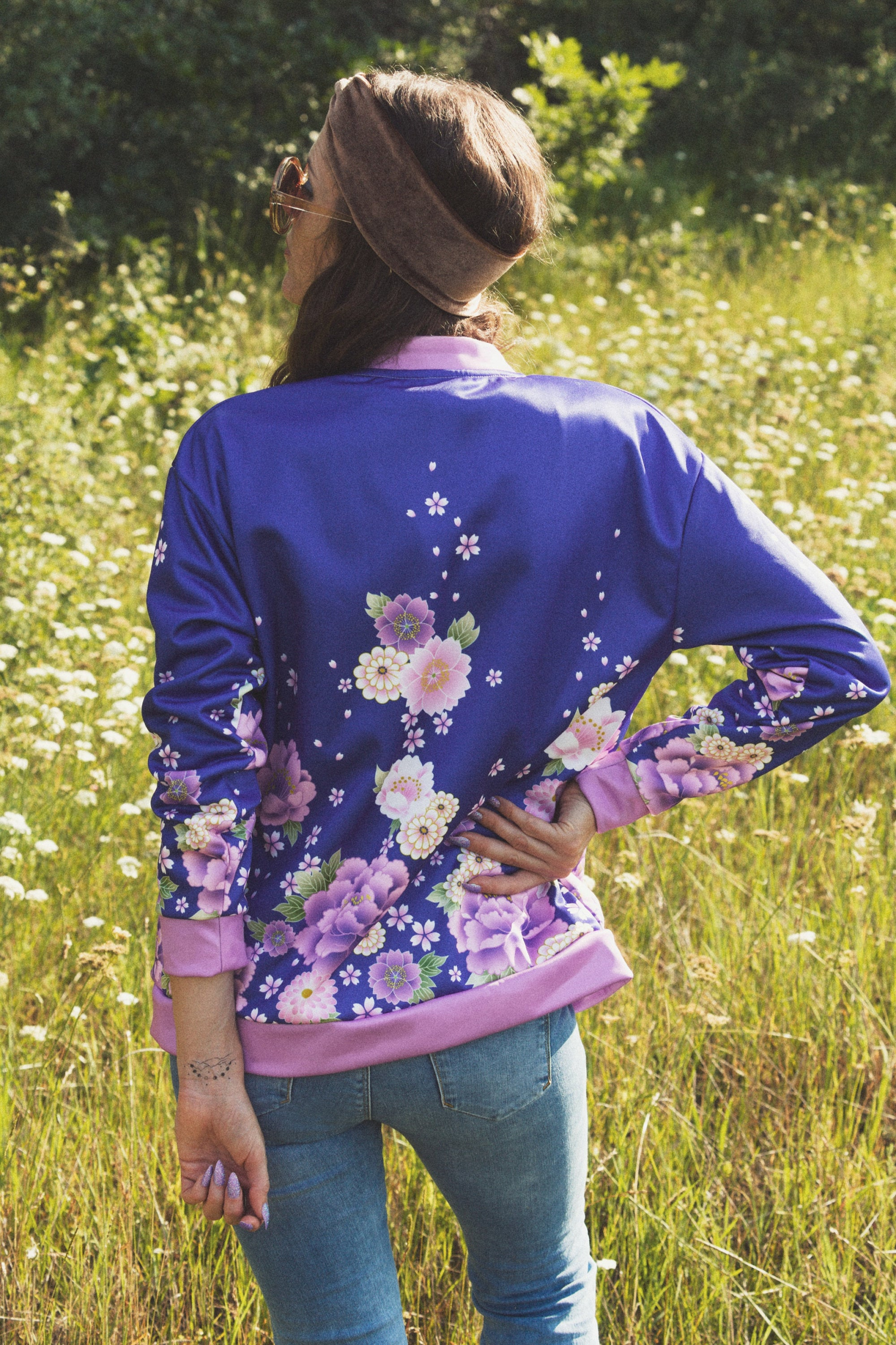 floral bomber jacket womens 70s jacket retro boho jacket bohemain bomber jacket track jacket asian bomber womens japanese jacket asian top