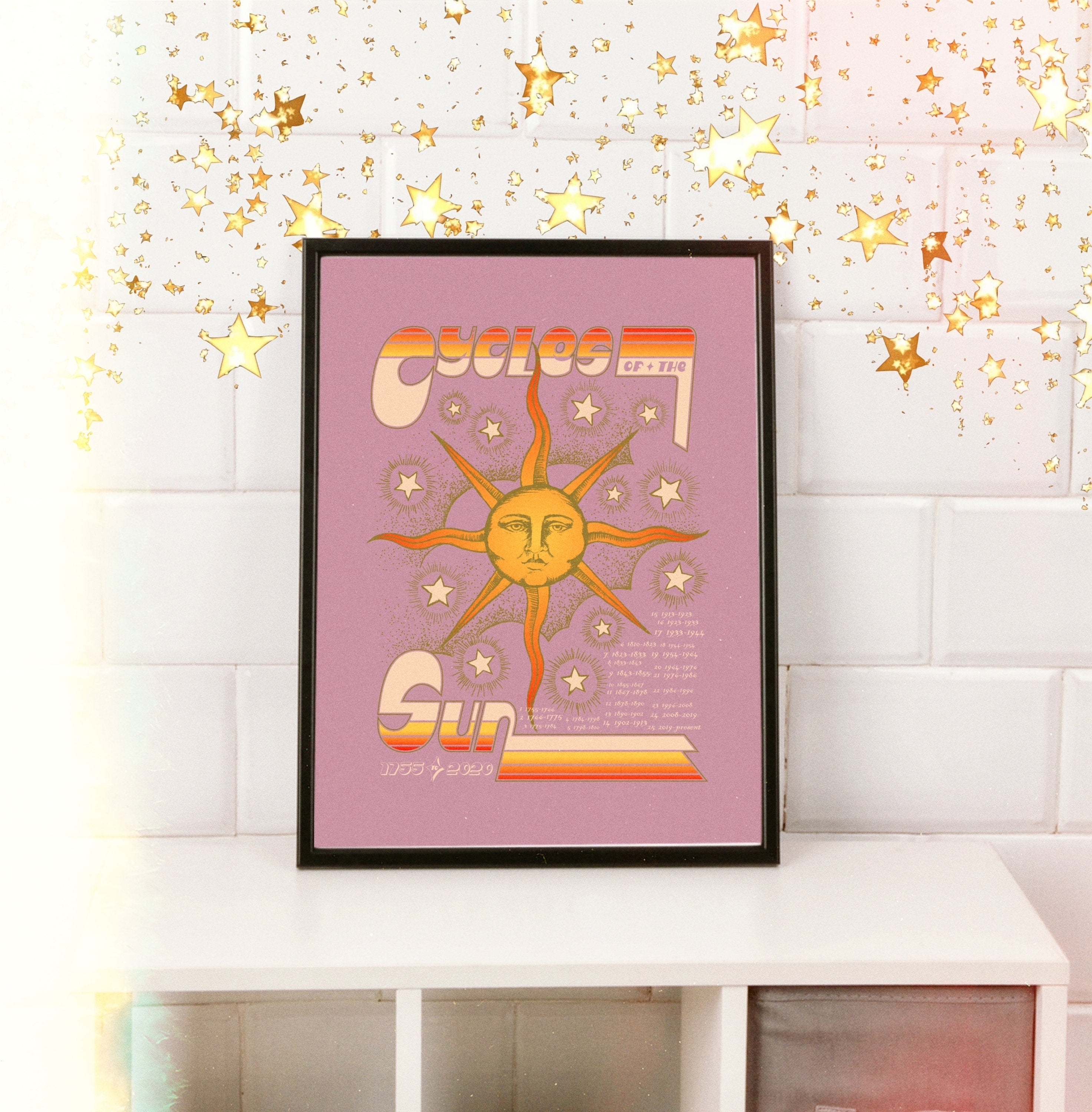 Sun art print solar cycles poster celestial wall art retro artwork 70s poster vintage digital print stars wall hanging cosmic art
