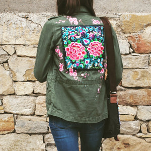Cherry Blossom Levi's Embellished Army Jacket
